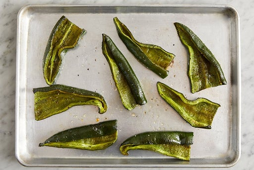 Prepare & roast the poblano peppers