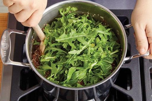 Cook the quinoa & wilt the arugula