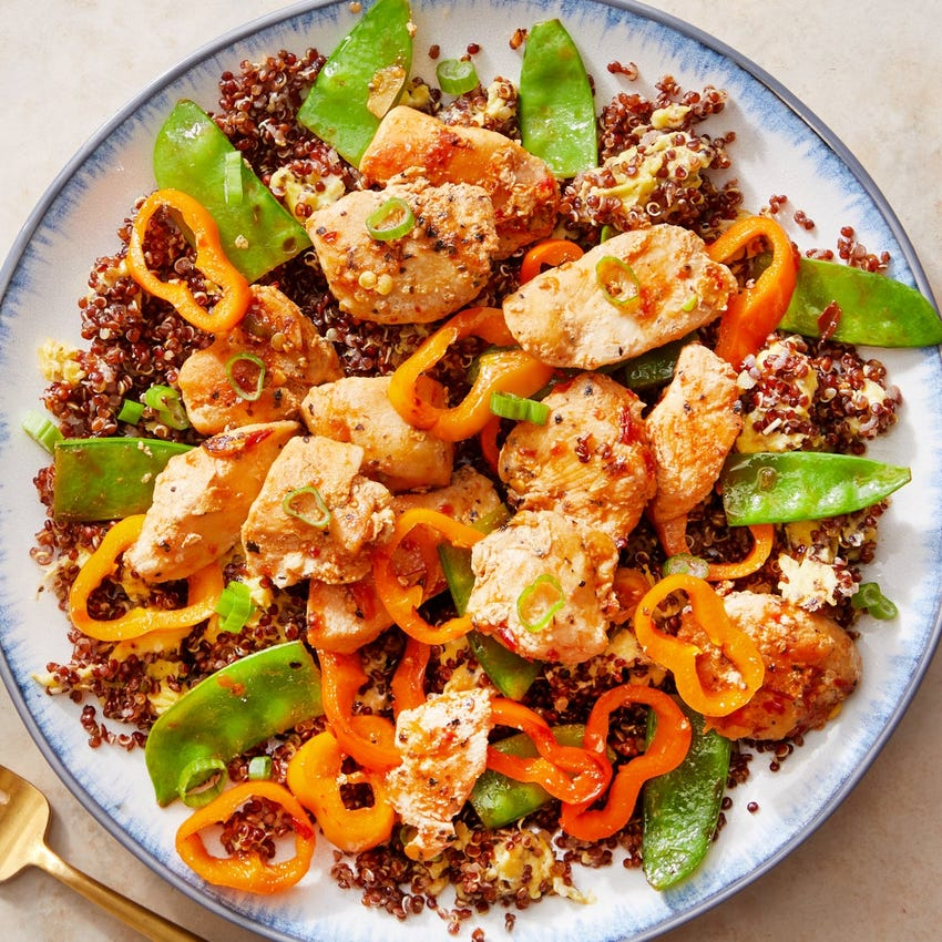 "Sambal Chicken & Quinoa ""Fried Rice"" with Snow Peas & Sweet Peppers"