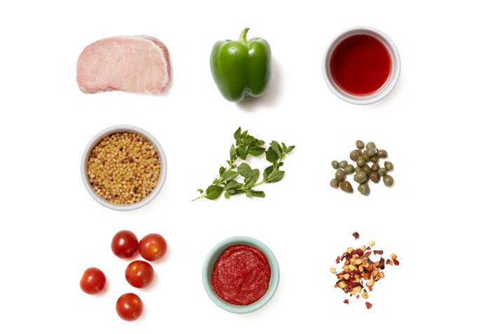 Pork Cacciatore with Tomatoes & Fregola Sarda Pasta