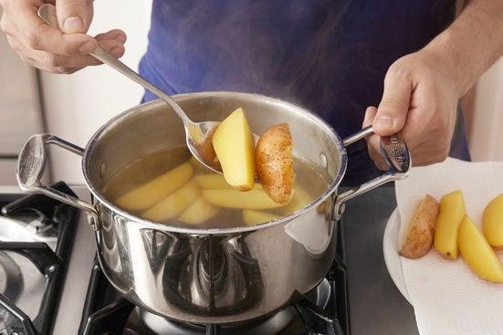 Prepare & cook the potatoes: