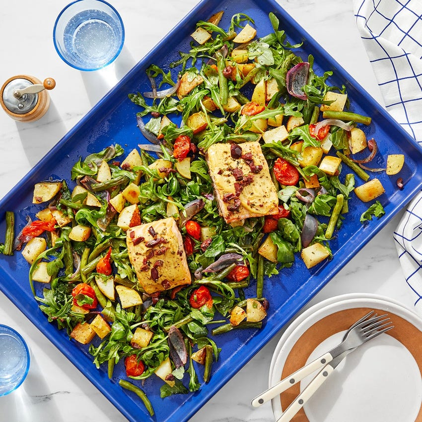 Sheet Pan Salmon & Olive Vinaigrette with Roasted Vegetable & Arugula Salad