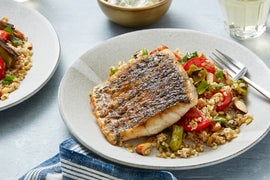 Barramundi & Tzatziki Sauce with Summer Vegetable & Freekeh Salad