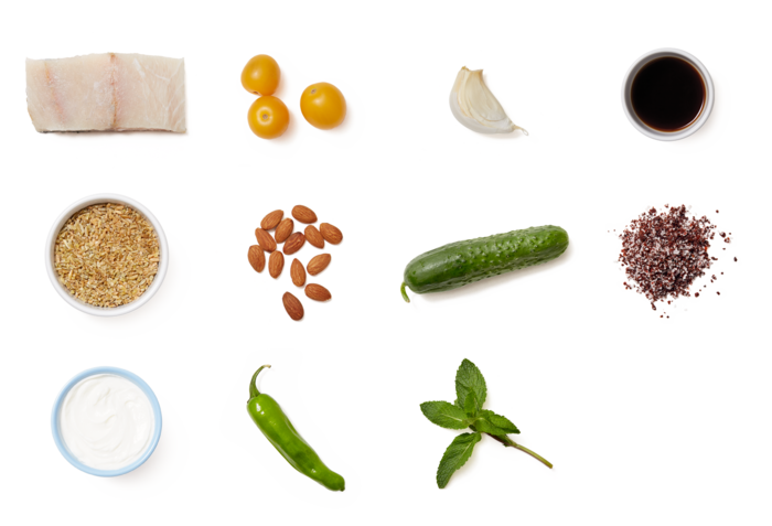 Barramundi & Tzatziki Sauce with Summer Vegetable & Freekeh Salad