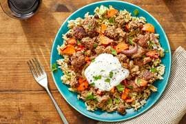 Beef & Shawarma-Spiced Rice with Carrots & Lemon Labneh