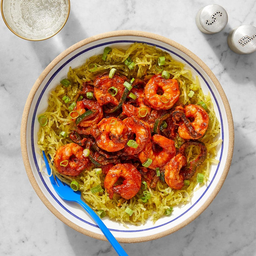 Indian-Style Butter Shrimp with Cilantro Spaghetti Squash