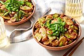 Soy-Glazed Pork & Rice Cakes with Bok Choy & Marinated Green Beans