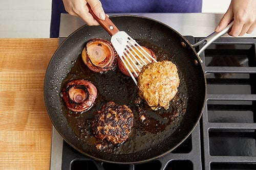 Cook the patties & onion: