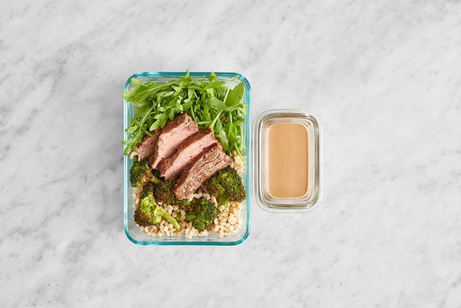 Assemble & store the Steak & Arugula Grain Bowls