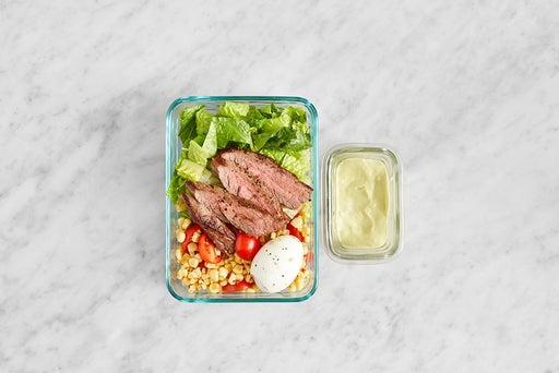 Assemble & store the Steak & Summer Vegetable Salad