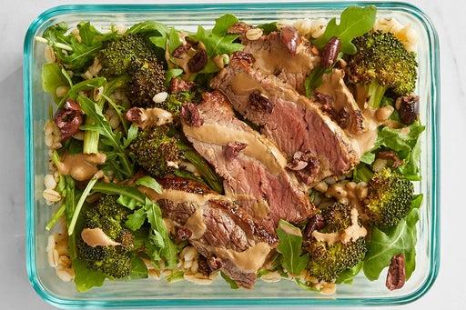 Finish & serve the Steak & Arugula Grain Bowls