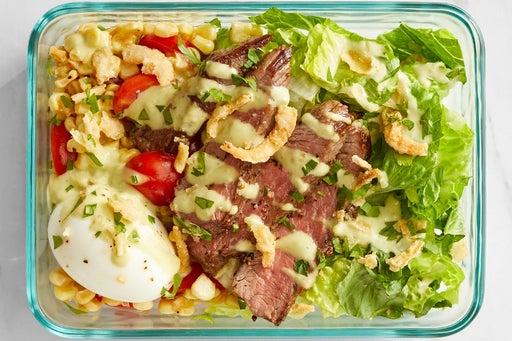 Finish & serve the Steak & Summer Vegetable Salad