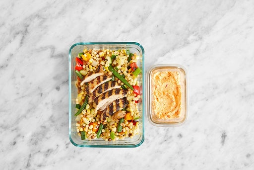Assemble & Store the Italian Chicken Thighs & Pasta Salad