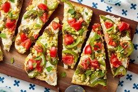 Summer Vegetable Focaccia Pizzas with Marinated Tomatoes