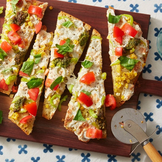 Summer Vegetable Focaccia Pizzas with Marinated Heritage Globe Tomatoes