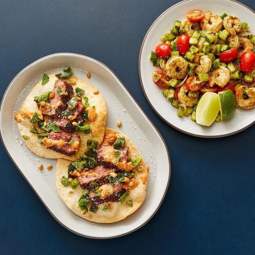 Steak & Poblano Tostadas with Cilantro Shrimp & Vegetable Salad