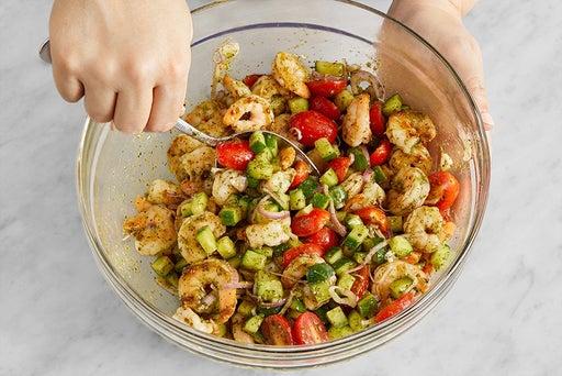 Cook the shrimp & make the salad