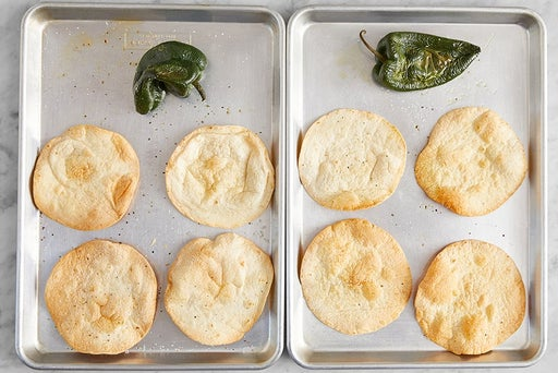 Bake the tortillas & peppers