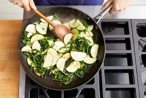 Cook the zucchini & poblano peppers