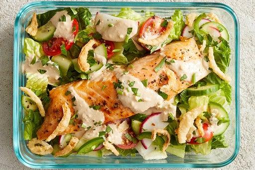 Finish & serve the Roasted Salmon Salad