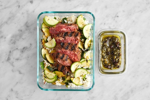 Assemble & Store the Smoky Steak & Vegetable Rice