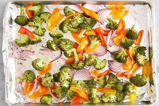 Roast the broccoli, onion & sweet peppers