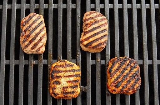 Prepare, grill & slice the pork