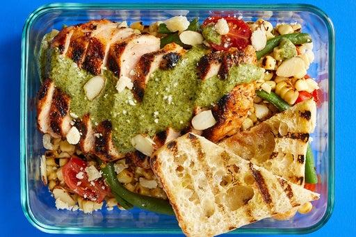 Finish & Serve the Grilled Pork & Vegetables