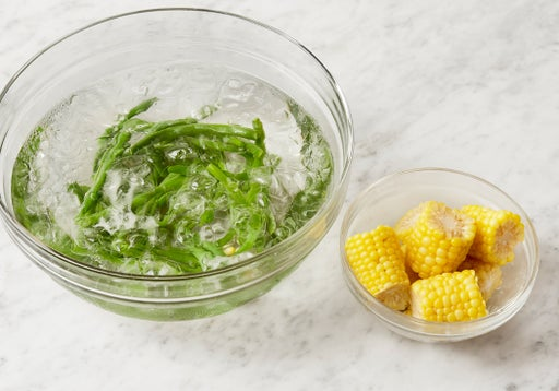 Cook the green beans & corn: