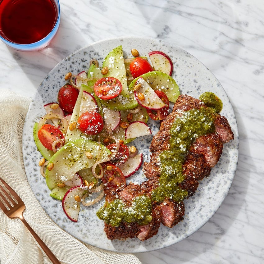Mexican-Spiced Steaks & Cilantro Sauce with Radish, Tomato & Chayote Squash Salad