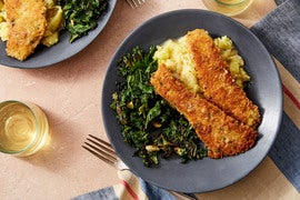 Herb-Crusted Rockfish & Butter Pan Sauce with Garlic-Sautéed Kale & Mashed Potatoes