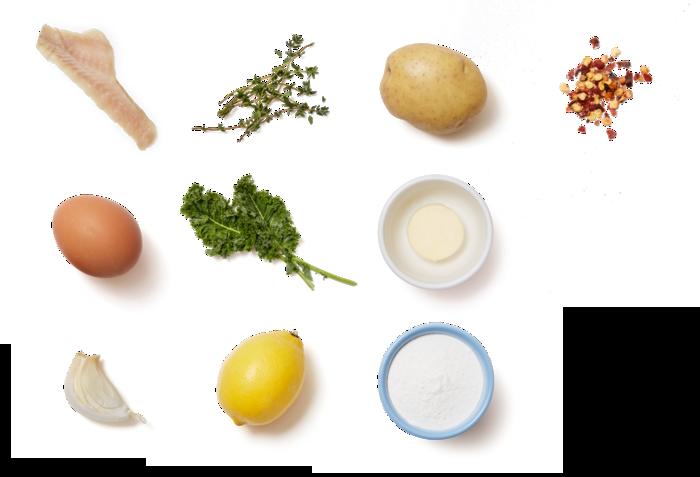 Herb-Crusted Rockfish & Butter Pan Sauce with Garlic-Sautéed Kale & Mashed Potatoes