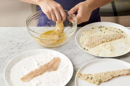 Bread the rockfish: