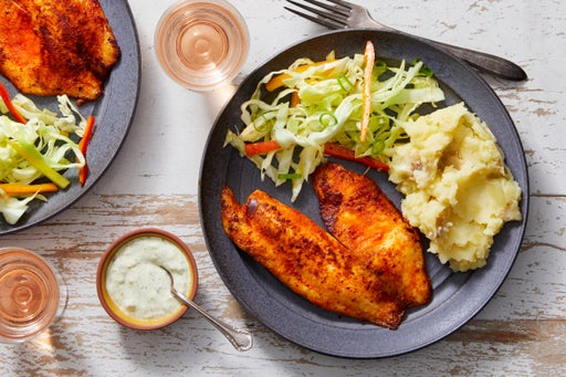 Southern-Spiced Tilapia & Tartar Sauce with Buttermilk Mashed Potatoes & Sweet Pepper Slaw