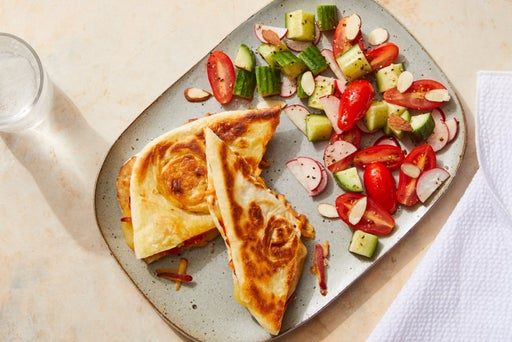Naan Grilled Cheese Sandwiches with Nectarine & Tomato Chutney