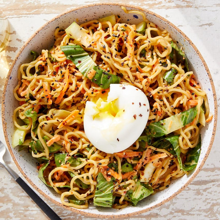Spicy Cold Sesame Noodles with Bok Choy, Carrots & Soft-Boiled Eggs