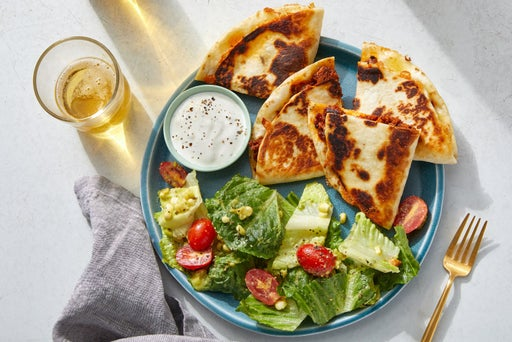 Pork Chorizo & Corn Quesadillas with Romaine Salad  & Guacamole Ranch