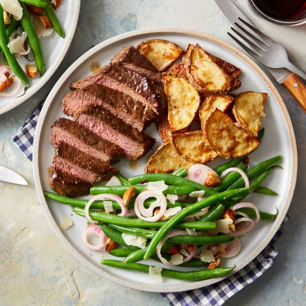 Fennel-Spiced Steaks with Garlic Roasted Potato & Green Bean Salad