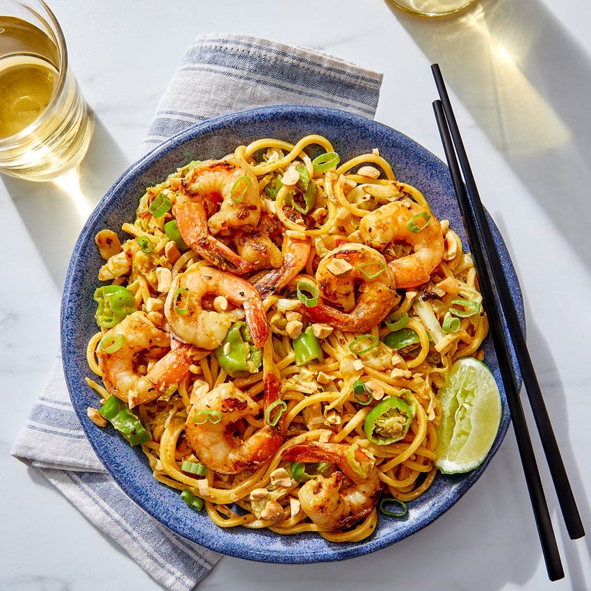 Thai Shrimp & Peanut Noodles with Cabbage & Shishito Peppers