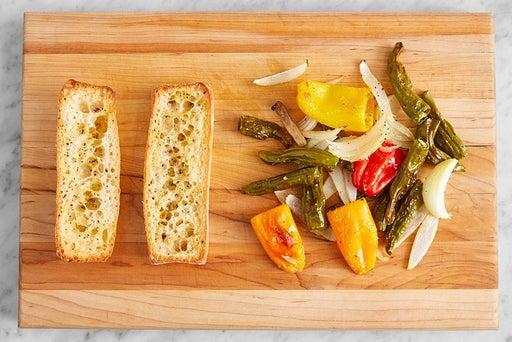 Roast the vegetables & toast the baguette