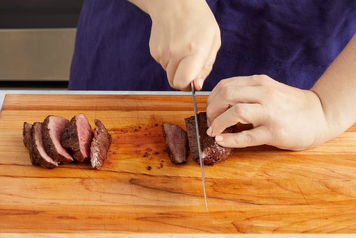 Slice the steaks & serve your dish