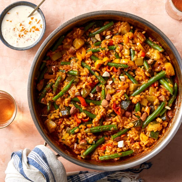 Summer Vegetable Paella with Saffron & Pickled Pepper Aioli