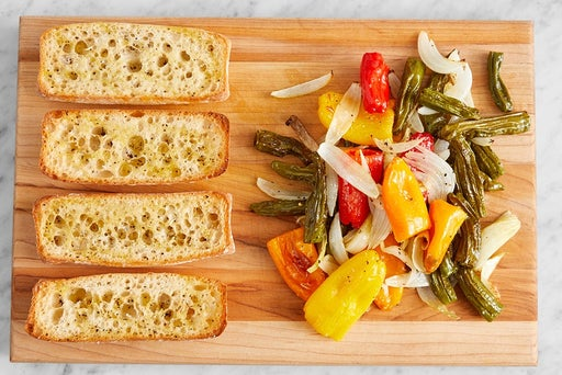 Roast the vegetables & toast the bread