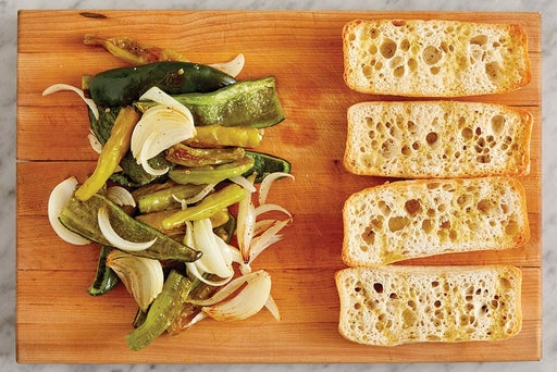Roast the vegetables & toast the baguettes
