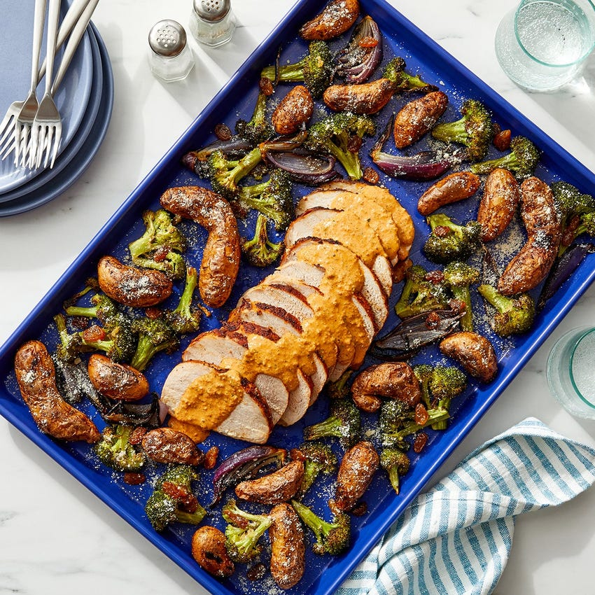 Sheet Pan Romesco Pork with Broccoli & Fingerling Potatoes