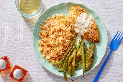 Spanish-Spiced Deviled Chicken with Romesco Rice & Preserved Lemon Sauce