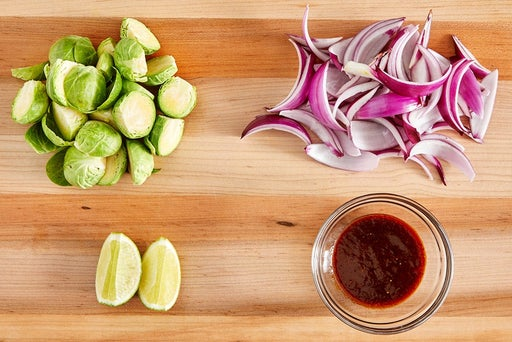 Prepare the vegetables & make the glaze