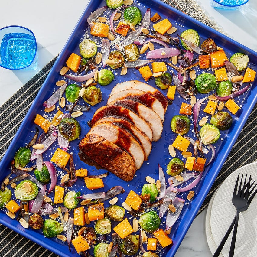 Sheet Pan Chipotle Pork Roast with Butternut Squash & Brussels Sprouts
