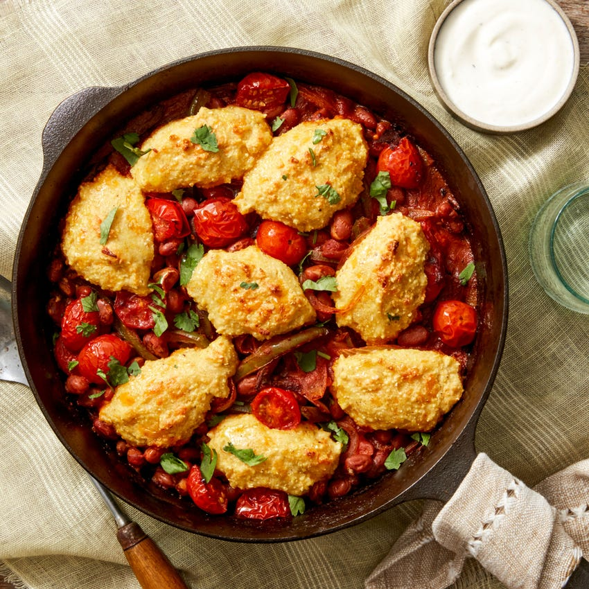 Skillet Vegetable Chili with Cheddar & Cornmeal Drop Biscuits