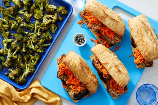 Sheet Pan Hoisin Meatloaf Sandwiches with Ponzu-Dressed Broccoli
